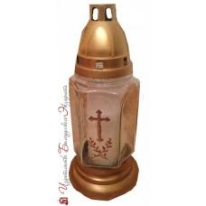 Лампада средняя - прозрачная с крестом